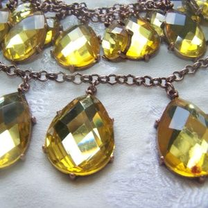 Joan Rivers Statement Necklace Yellow Champagne